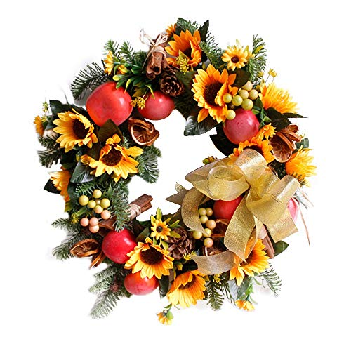 Honfill Vibrant Silk Fall Front Door Autumn Thanksgiving Wreath 17.8 Inches Harvest Foliage Home Decor UV Protected Artificial Outdoor Use Gift Idea Party Halloween Christmas Festival Decor