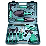 Qingsheng 10 Pieces Gardening Tool Set- Garden Tool Organizer,Ergonomic Non Slip Handle Including...