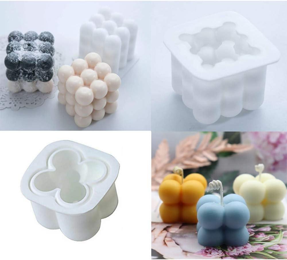 BAQI 2 St/ück DIY Kerzenform 3D Rubiks Cube Soja Silikon Kerze Seife Herstellung Formen f/ür Handwerk Ornamente Fondant Duftkerzen Sojawachs Gipsform