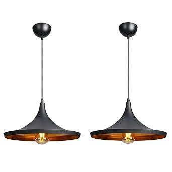 CCLIFE Industrial Lampe Pendellampe Pendelleuchte Hängelampe Deckenlampe  Hängeleuchte Vintage Retro Schwarz 19cm E27 Leuchtmittel 60W Küchen