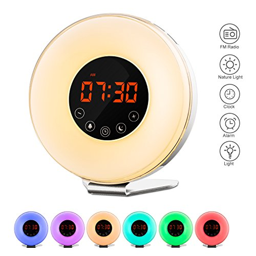 Wake Up Light - AIFUTI Sunrise Simulation Alarm Clock with 7 Color Lights / Adjustable Brightness / 6 Nature Sounds / FM Radio / Snooze Function and Touch Control for Easy Use