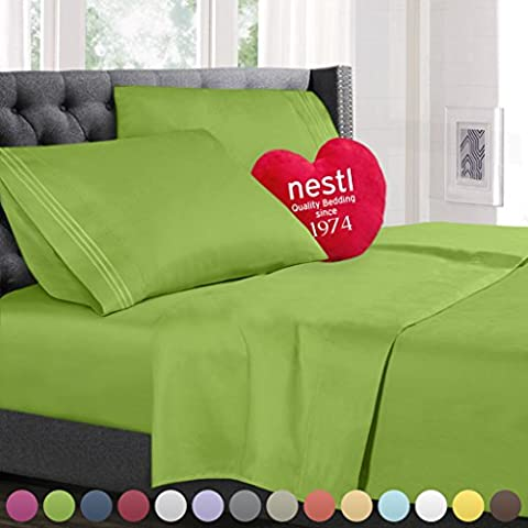 Bed Sheet Bedding Set, Twin Single Size, Garden Green, 100% Soft Brushed Microfiber Fabric with Deep Pocket Fitted Sheet, 1800 Luxury Bedding Collection, Hypoallergenic & Wrinkle Free Bedroom Linen Set By Nestl - Sateen Single