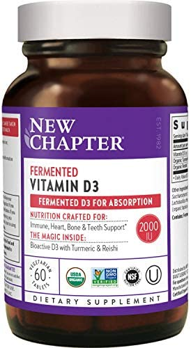 New Chapter Vitamin D3, Fermented Vitamin D3 2,000 IU, ONE Daily with Whole-Food Herbs + Adaptogenic Reishi Mushroom for Immune Support + Bone Health + Heart Health, 100% Vegan, Gluten-Free - 60 rely