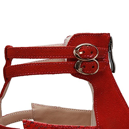 AllhqFashion Women's Solid Imitated Suede High-Heels Open Toe Zipper Sandals Red Mew1OufCP1