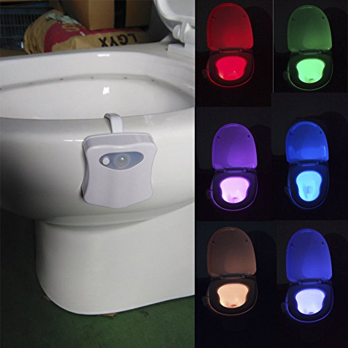Your supermart Motion Sensor Toilet LED Night Light, Home Toilet / Bathroom Motion Activated Toilet Nightlight Toilet Seat Light with 8 Changing Colors