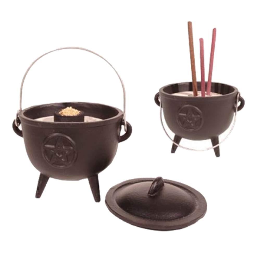 FindSomethingDifferent Cast Iron Cauldron Incense Burner with Pentagram Symbol Find Something Different 958007