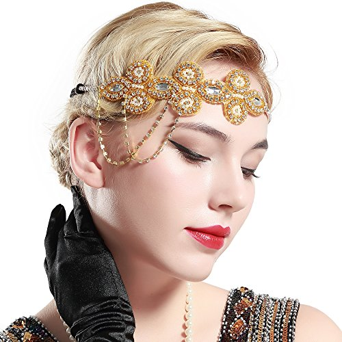 BABEYOND 1920s Flapper Headband Crystal Great Gatsby Headpiece Roaring 20s Flapper Gatsby Hair Accessories (Gold)