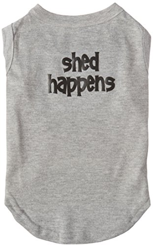Mirage Pet Products 14-Inch Shed Happens Screen Print Shirts for Pets, Large, Grey from Mirage Pet Products