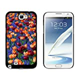 Graphics and More Field of Tulips and Blue Flowers - Snap On Hard Protective Case for Samsung Galaxy Note II 2 - Black