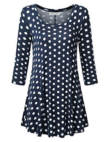 Polka Dots Tunic Dress - BaiShengGT Womens 3/4 Sleeve Loose Fit Swing Tunic Tops Basic T Shirt X-Large Scoop Neck-Navy Polka Dots