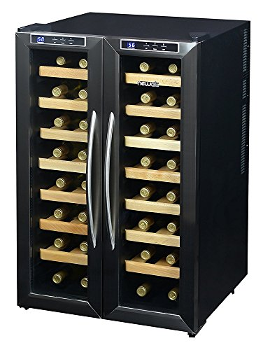 NewAir AW-321ED 32 Bottle Dual Zone Thermoelectric Wine Cooler, Stainless Steel & Black - Freestanding Stainless Steel Heater