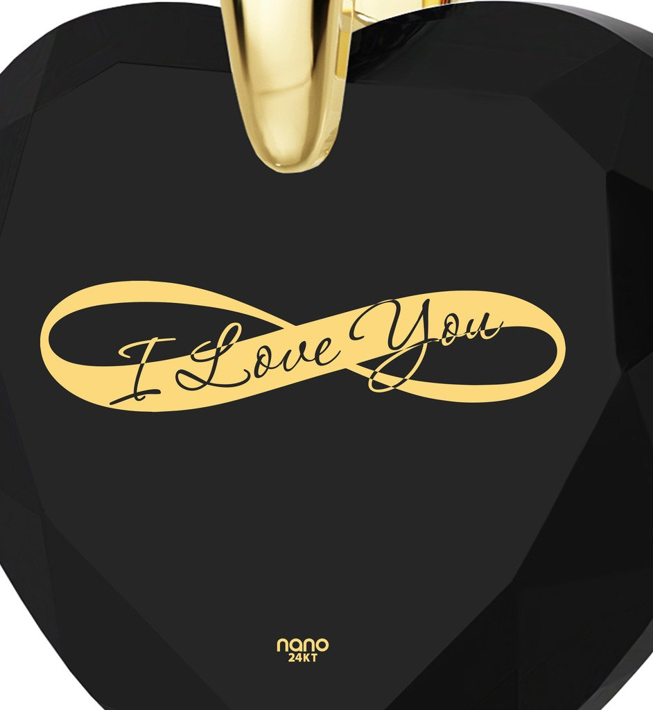 Gold Plated Heart Necklace I Love You Pendant Infinity Symbol 24k Inscribed on Clear Cubic Zirconia, 18'' by Nano Jewelry (Image #3)