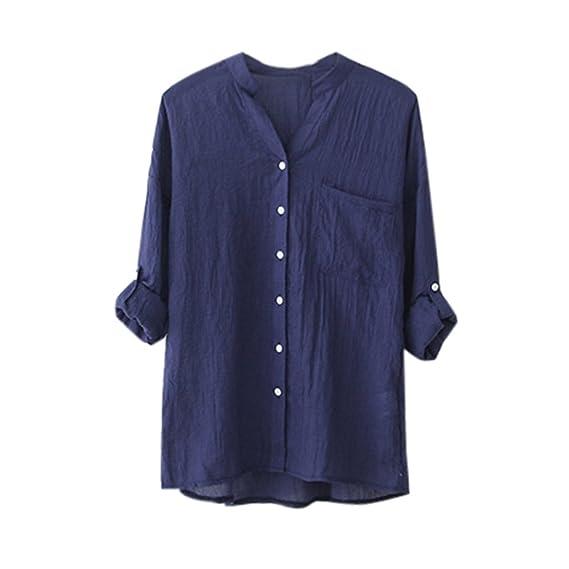 Kukul_Mujer Mujer Blusas Kukul Algodón Camisa de Manga Larga Sólida Blusa Suelta Informal (S,