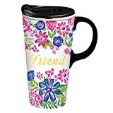 Cypress Home Friend Ceramic Travel Coffee Mug, 17 ounces