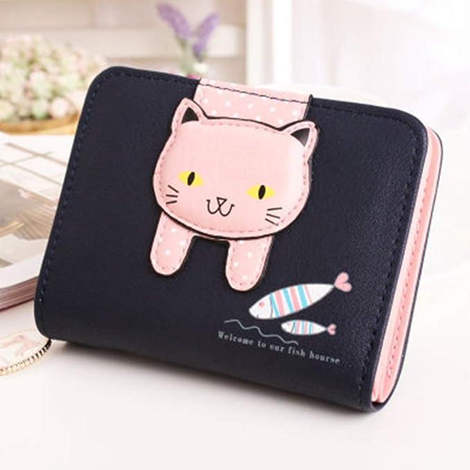 Women Wallet Money Bag Small Cute Coin Purse (Black-cat)