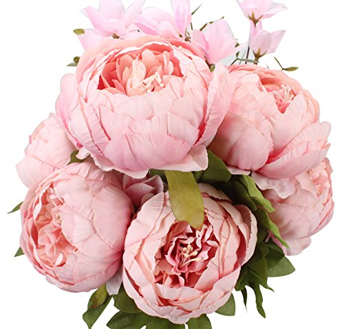 Duovlo Springs Flowers Artificial Silk Peony Bouquets Wedding Home Decoration,Pack of 1 (Spring Light Pink) (Spring 2 Bouquet)