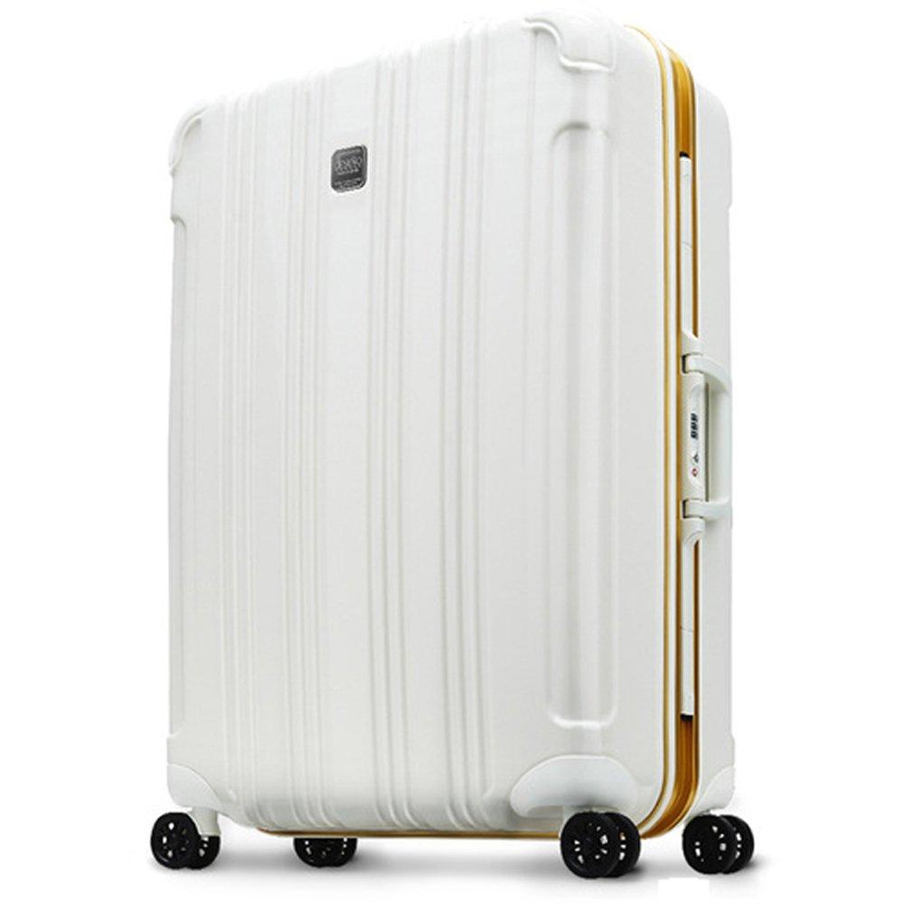 DESENO スーツケース CUBE 鏡面加工 WHITE ホワイト 白 長期旅行 デセノ ブランド アルミフレーム キャリーバック スーツケース 旅行バック かわいい おしゃれ L  B07767N7WS