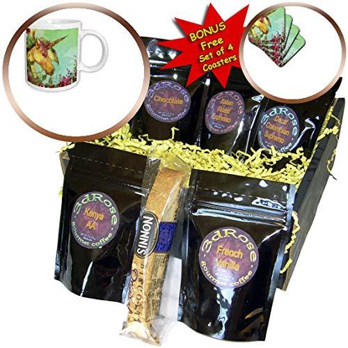 3dRose TNMGraphics Christmas - Magical Golden Christmas Unicorn With Poinsettias - Coffee Gift Baskets - Coffee Gift Basket (cgb_299959_1)