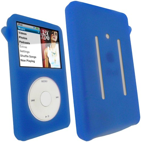 iGadgitz Blue Silicone Skin Case Cover for Apple iPod Classic 80GB, 120GB & Latest 6th Generation 160gb launched Sept 09 + Screen Protector & (Blue Ipod Classic 160 Gb)