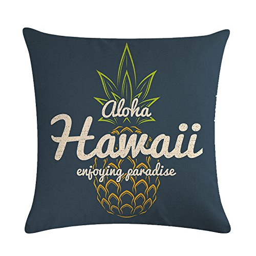 Aremazing Tropical Hawaiian Pineapple Cotton Linen Home Decor Pillowcase Throw Pillow Cushion Cover 18 x 18 Inches (Aloha Hawaii Enjoying Paradise)