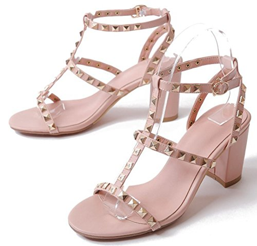 Ankle Trendy Womens Pink Sandals Easemax With Heel Strap Toe Gladiator Mid Open Buckle Rivets Chunky Uw0B0aHq