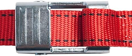 25mm幅 カムバックルベルト エンドレス 3.0m 赤 10本セット
