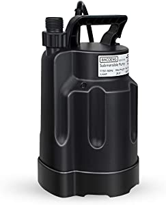 BACOENG Submersible Utility Pump 1580GPH High Flow 28ft Long Cord with Garden Hose Adapter for Easy Water Removal and Dewatering