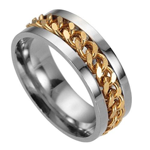 - Napoo Men's Titanium Steel Chain Rotation Ring Cross Border Jewelry Ring (Gold, 11)