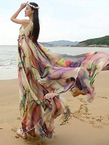 ec02d514e26 MedeShe Women s Chiffon Floral Holiday Beach Bridesmaid Maxi Dress Sundress