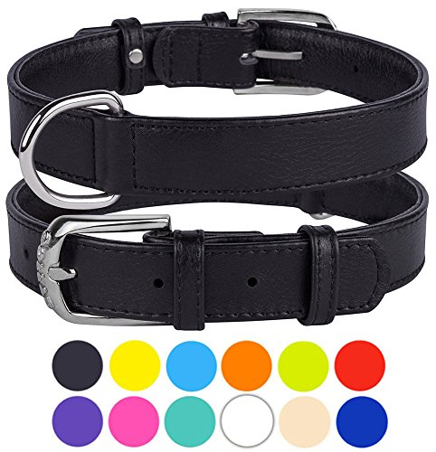 CollarDirect Genuine Leather Dog Collar 12 Colors, Soft Padded Collars for Puppy Small Medium Large, Mint Green Black Pink White Red Blue Purple (Black, Size L Neck Fit 16