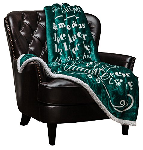 Chanasya Home Sweet Home Message Print Super Soft Plush Fleece Microfiber Sherpa Reversible Throw Blanket For Couch Bed Sofa Chair Great House Warming Gift Blanket - Evergreen Teal (House Sherpa)