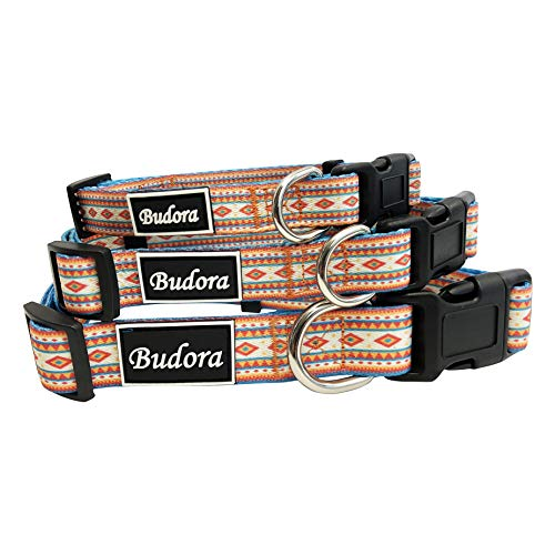 - Budora Direct 3 Design Tribal Patterns Orange, Pink, Blue, Playful Puppy Senior Male Female Cute Adjustable Pet, Dog, Cat Collars (Large, Blue)