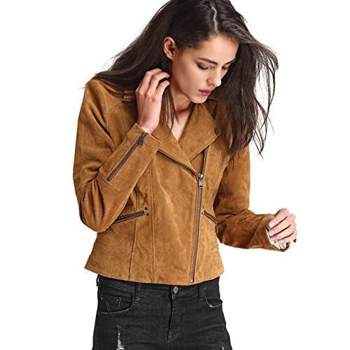 Cheap Escalier Women`s Genuine Leather Jacket Moto Biker Coat