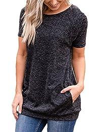 onlypuff Womens Casual Sweatshirt Solid Long Sleeve Tunic Tops Pockets