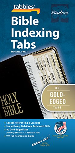 Tabbies Gold-Edged Bible Indexing Tabs, Old & New Testament, 80 Tabs Including 64 Books & 16 Reference Tabs (58331)