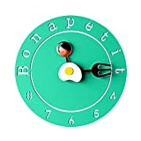 TIANTA- Poached egg creative design wall clock character fashion bedroom mute children's cartoon cute clock ( Color : Green , Size : 10 inches )