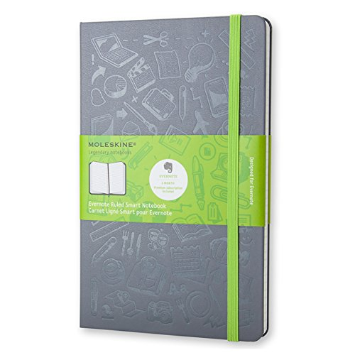 Moleskine Evernote Smart Notebook  Large  Slate Grey  Hard Cover  5 X 8 25