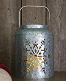 Lighted Metal Snowflake Lantern 9''