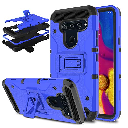 DONWELL Compatible LG V40 ThinQ Case, Shockproof Armor Cell Phone Case Cover with Kickstand Belt Clip Holster Compatible with LG V40 (2018) (Blue) -
