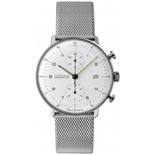 - Junghans Max Bill Chronoscope Mens Automatic Chronograph Watch - 40mm Analog Silver Face with Luminous Hands and Date - Stainless Steel Mesh Band Luxury Watch Made in Germany 027/4003.44