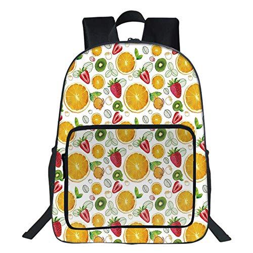 (Fruits School Bag,Citrus Kiwi Lemon Leaves Apricot Watermelon Fresh Exotic Kitchen For Teens Girls Boys,11.8