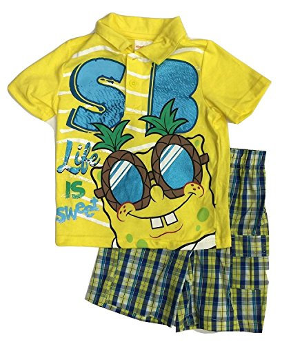 [Nickelodeon Spongebob Toddler Boy's Shirt Shorts Outfit Set (4T)] (Spongebob Outfit)