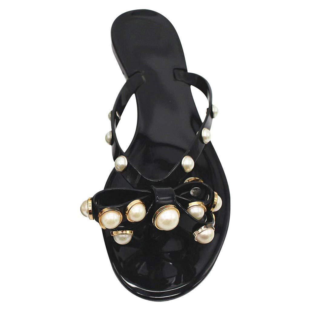Peigen Womens Rivets Bowtie Flip Flops Jelly Thong Sandal Rubber Flat Summer Beach Rain Shoes by Peigen