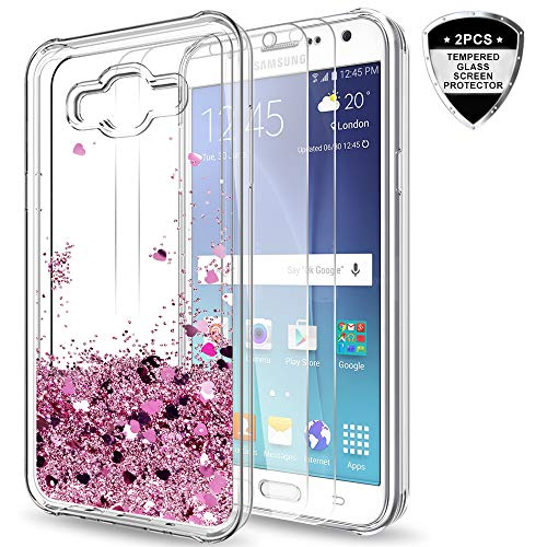 Galaxy J7 Case with Tempered Glass Screen Protector [2 Pack] for Girls Women,LeYi Glitter Shiny Moving Quicksand Liquid Clear TPU Protective Phone Case for Samsung Galaxy J7 J700 2015 ZX Rose Gold