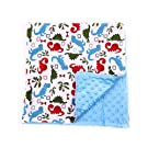 Baby Minky Receiving Blanket - 32 x 32 inches - Cotton Polyester - Blue Dinosaur