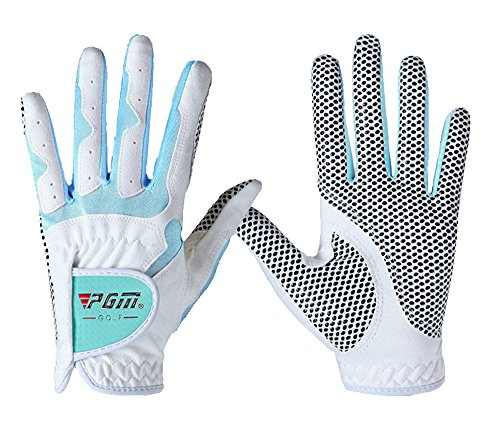 PGM Womens Golf Glove One Pair, Improved Grip System, Cool and Comfortable (white blue, S)