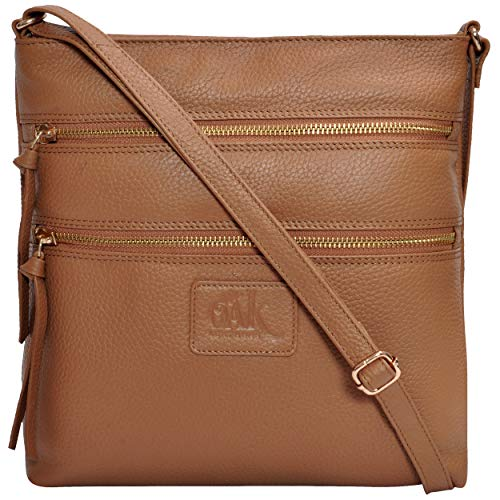 Tan Bag Shoulder Leather - Leather Crossbody Purses and Handbags for Women-Premium Crossover Bag Over the Shoulder Womens (Taupe Pebble)