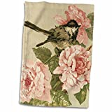 3dRose Image of Vintage Style Pink Cabbage Roses with Bird Towel, 15 x 22