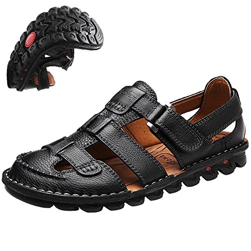 c905af681b93 Vocni Men s Open Toe Casual Leather Comfort Shoes Sandals Large Size ...