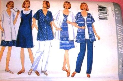 Butterick Sewing Pattern 4512 Misses' Maternity Shirt, Dress, Top, Shorts & Pants, Size 16 18 20 22